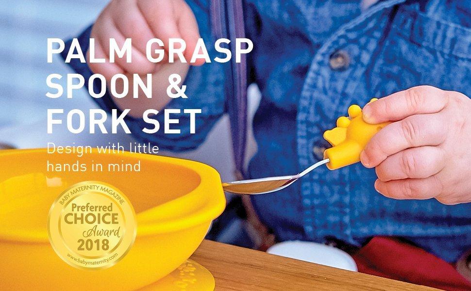 palm grasp spoon & fork set