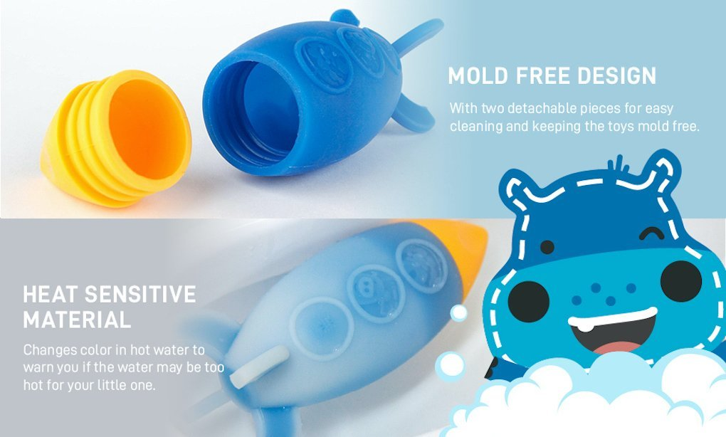 silicone bath toy space rocket