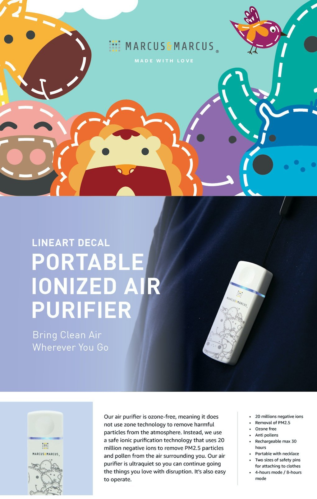 portable ionized air purifier-lineart