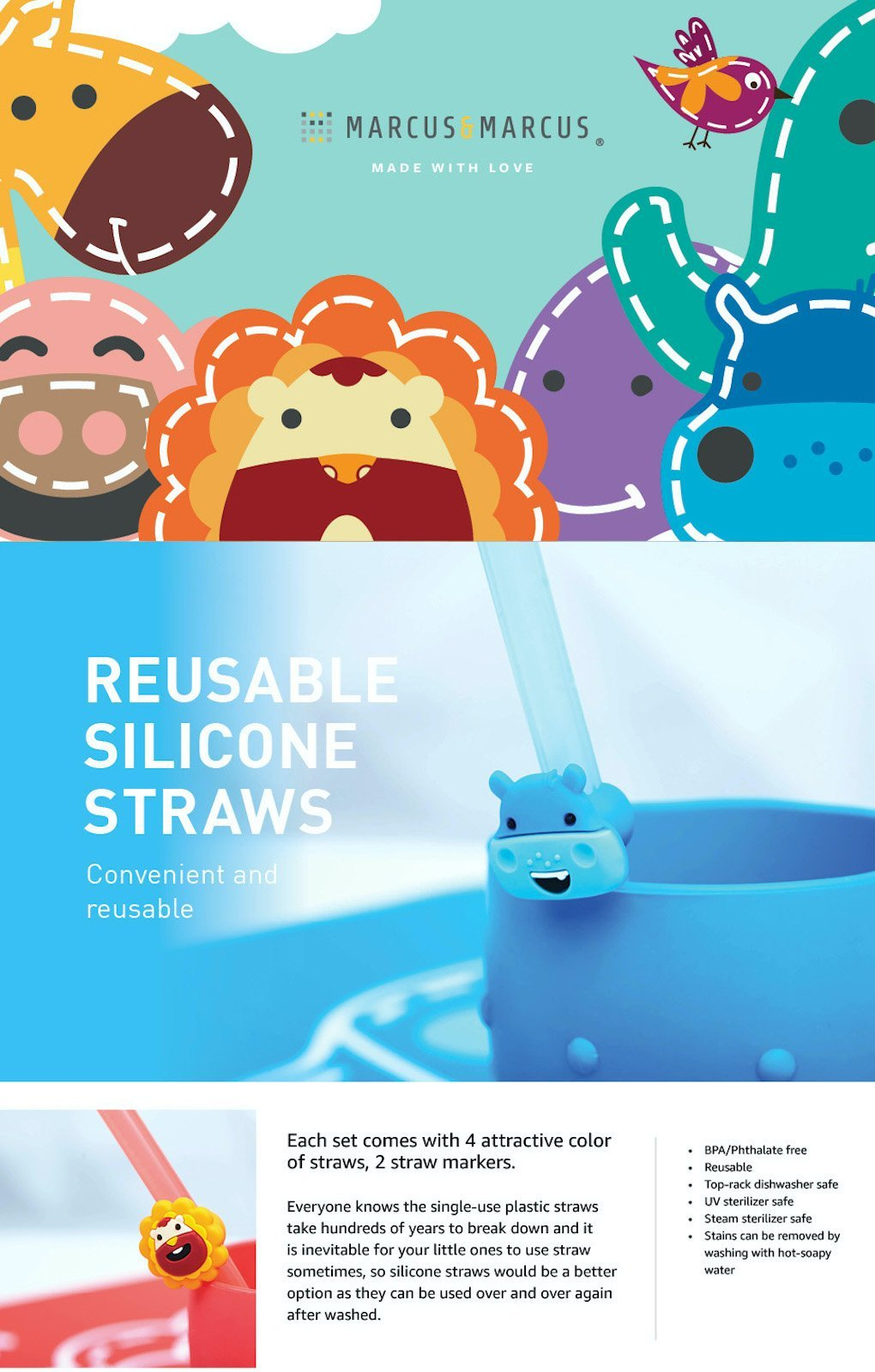 reusable straw family set