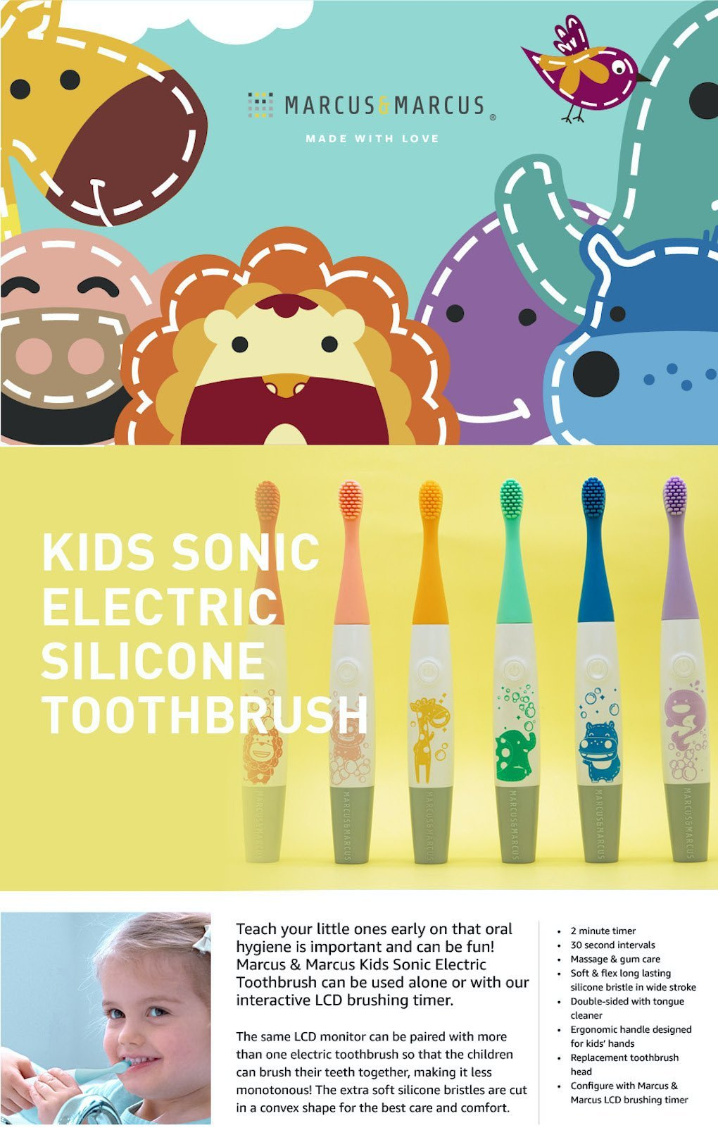 Kids Sonic Electric Silicone Toothbrush